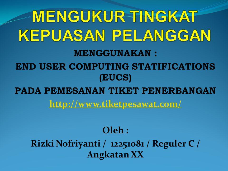 MENGGUNAKAN : END USER COMPUTING STATIFICATIONS (EUCS) PADA PEMESANAN TIKET PENERBANGAN http://www.tiketpesawat.com/ Oleh : Rizki Nofriyanti / 12251081 / Reguler C / Angkatan XX