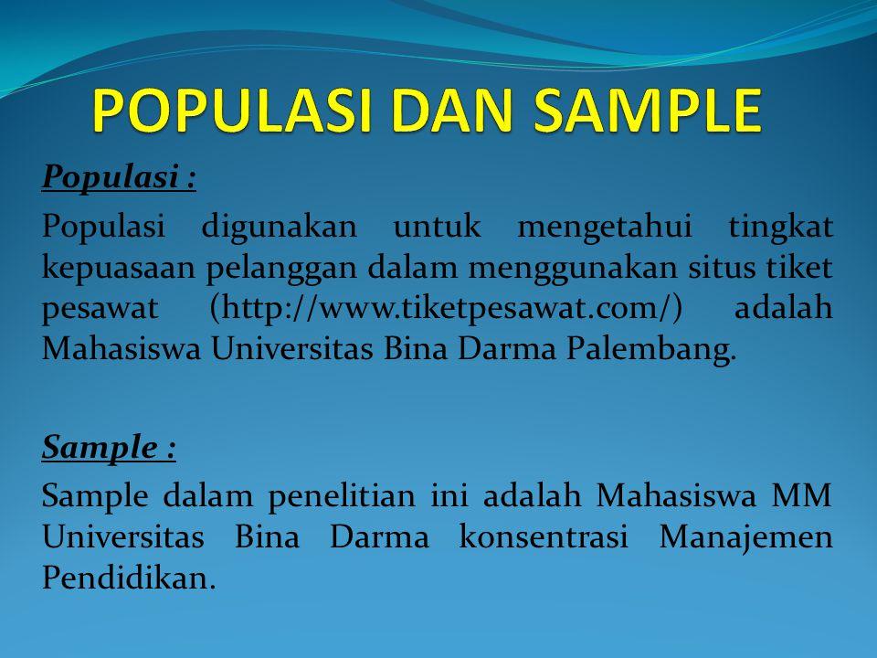 Populasi : Populasi digunakan untuk mengetahui tingkat kepuasaan pelanggan dalam menggunakan situs tiket pesawat (http://www.tiketpesawat.com/) adalah Mahasiswa Universitas Bina Darma Palembang.
