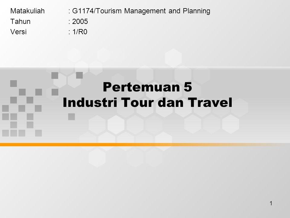 2 Learning Outcomes Pada akhir pertemuan ini, diharapkan mahasiswa akan mampu : Mahasiswa dapat menjelaskan peta industri perjalanan wisata