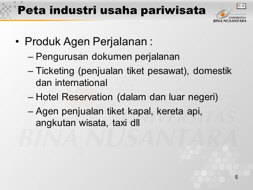 5 Peta industri usaha pariwisata Produk Agen Perjalanan : –Pengurusan dokumen perjalanan –Ticketing (penjualan tiket pesawat), domestik dan international –Hotel Reservation (dalam dan luar negeri) –Agen penjualan tiket kapal, kereta api, angkutan wisata, taxi dll