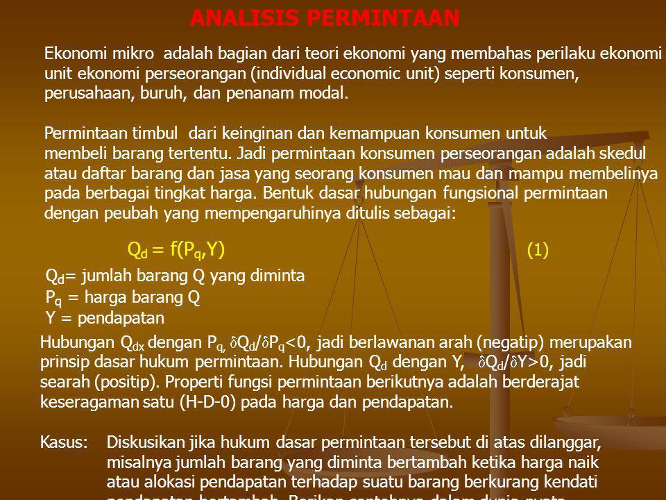 MANIPULASI ELASTISITAS ELASTISITAS HARGA SENDIRI TERHADAP JUMLAH BARANG YANG DIMINTA  D = (  Q/Q)/(  P q /P q ) = (  Q/  P q ) (P q /Q) = (  Q/  P q ) (P q /Q)  D = elastisitas Q = jumlah barang Q yang diminta P q = harga barang Q ELASTISITAS HARGA SILANG TERHADAP JUMLAH BARANG YANG DIMINTA  QX = (  Q/Q)/(  P X /P X ) = (  Q/  P X )(P X /Q) = (  Q/  P X )(P X /Q)  QX = elastsitas harga silang Q = jumlah barang Q yang diminta P X = harga barang X sebagai barang penggantii