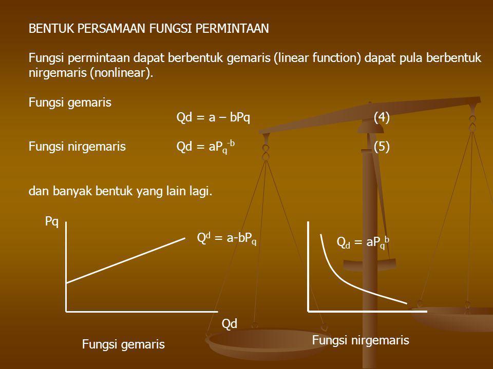 BENTUK PERSAMAAN FUNGSI PERMINTAAN Fungsi permintaan dapat berbentuk gemaris (linear function) dapat pula berbentuk nirgemaris (nonlinear). Fungsi gem