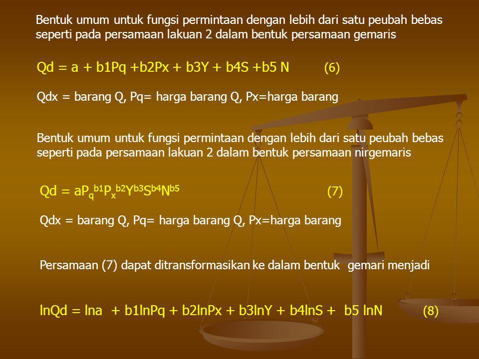 Bentuk umum untuk fungsi permintaan dengan lebih dari satu peubah bebas seperti pada persamaan lakuan 2 dalam bentuk persamaan gemaris Qd = a + b1Pq +
