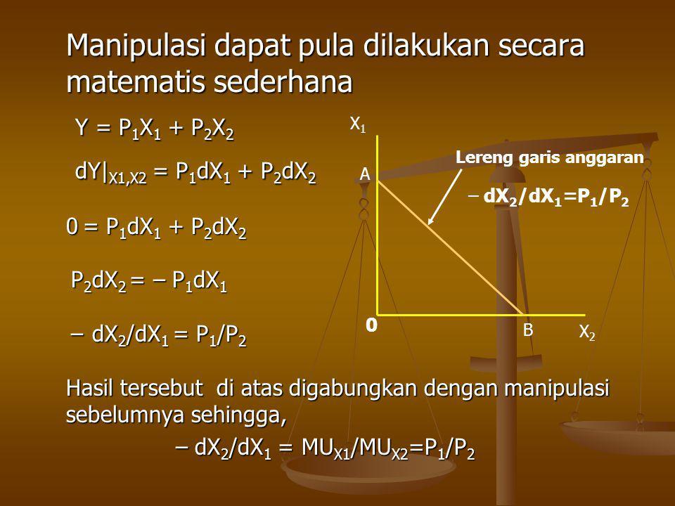Manipulasi dapat pula dilakukan secara matematis sederhana Y = P 1 X 1 + P 2 X 2 Y = P 1 X 1 + P 2 X 2 dY| X1,X2 = P 1 dX 1 + P 2 dX 2 dY| X1,X2 = P 1