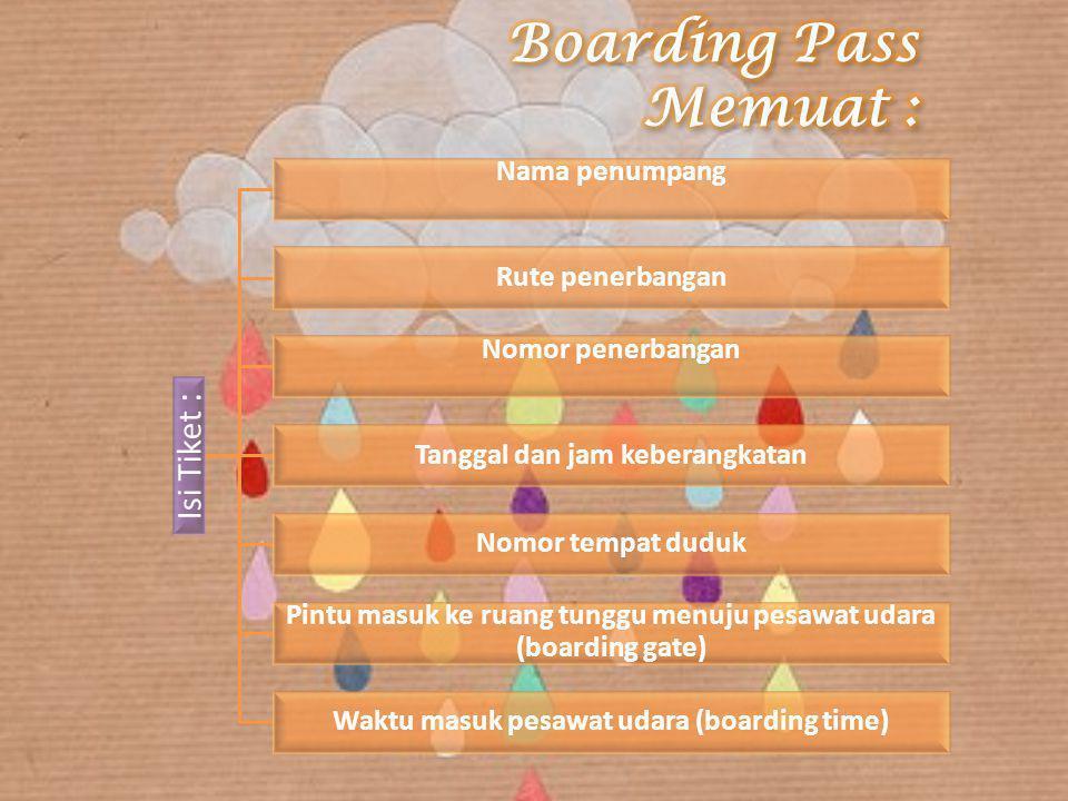 Isi Tiket : Nama penumpang Rute penerbangan Nomor penerbangan Tanggal dan jam keberangkatan Nomor tempat duduk Pintu masuk ke ruang tunggu menuju pesa