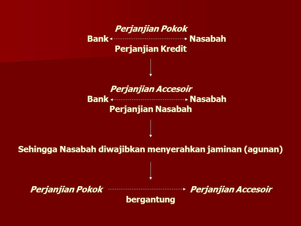 Perjanjian Pokok Bank Nasabah Perjanjian Kredit Perjanjian Accesoir Bank Nasabah Perjanjian Nasabah Sehingga Nasabah diwajibkan menyerahkan jaminan (a