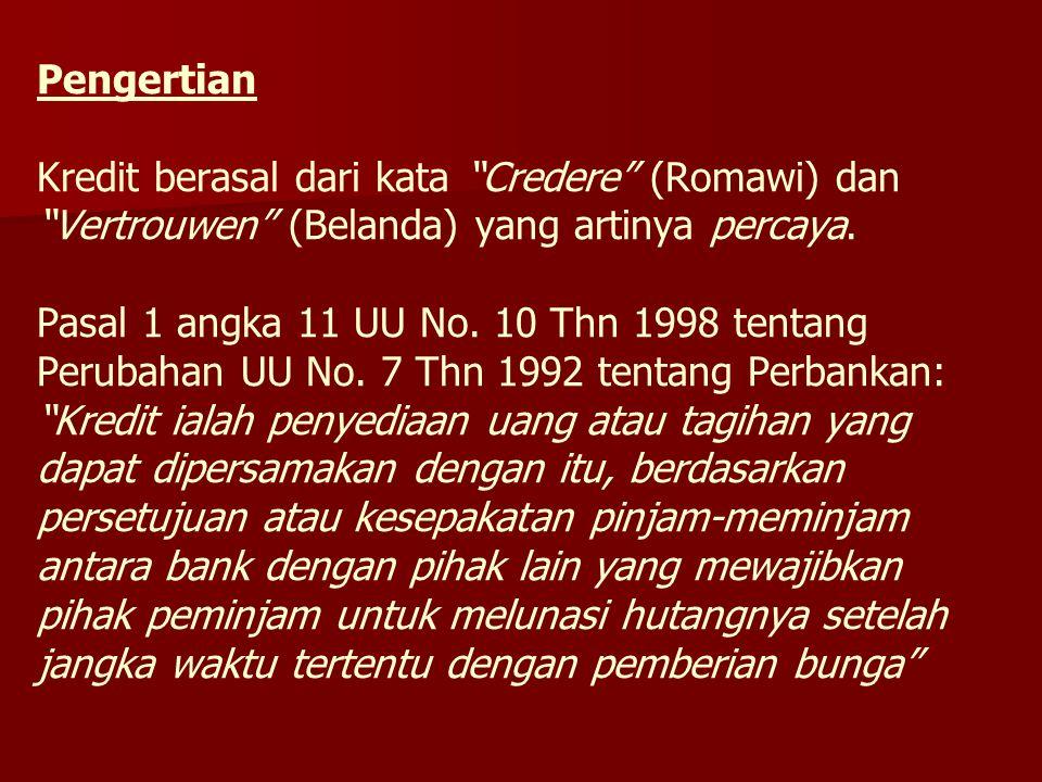 """Pengertian Kredit berasal dari kata """"Credere"""" (Romawi) dan """"Vertrouwen"""" (Belanda) yang artinya percaya. Pasal 1 angka 11 UU No. 10 Thn 1998 tentang Pe"""