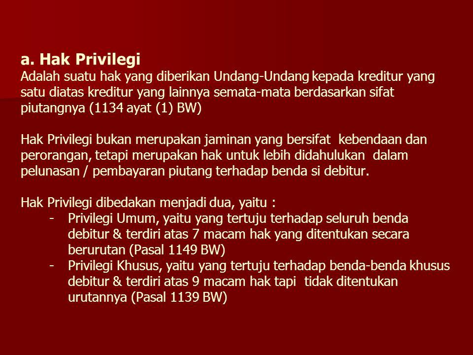 a. Hak Privilegi Adalah suatu hak yang diberikan Undang-Undang kepada kreditur yang satu diatas kreditur yang lainnya semata-mata berdasarkan sifat pi
