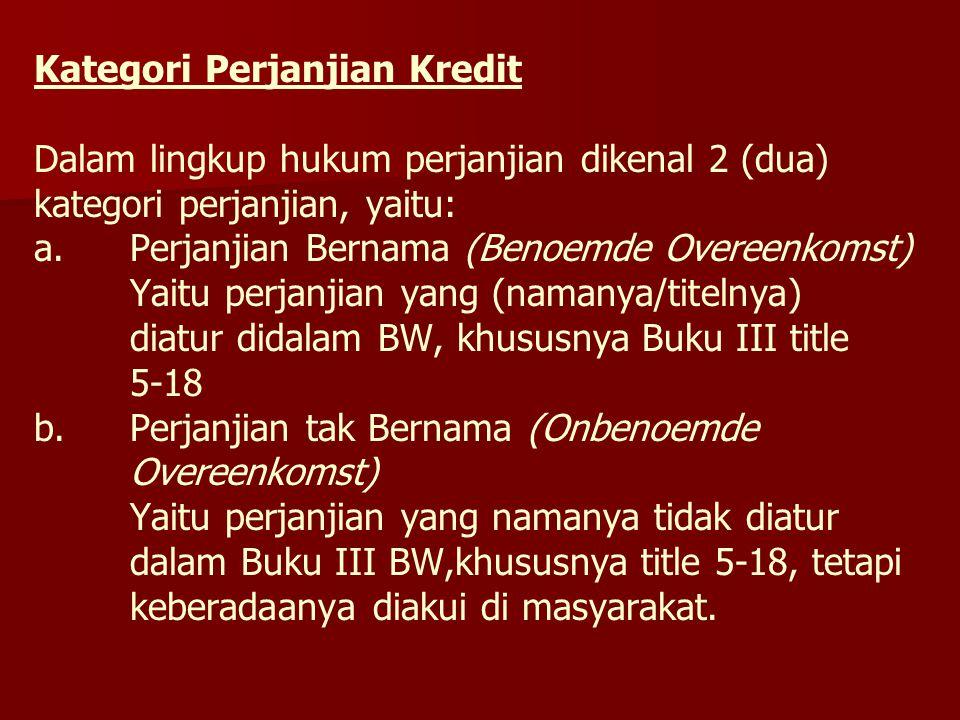Kategori Perjanjian Kredit Dalam lingkup hukum perjanjian dikenal 2 (dua) kategori perjanjian, yaitu: a.Perjanjian Bernama (Benoemde Overeenkomst) Yai