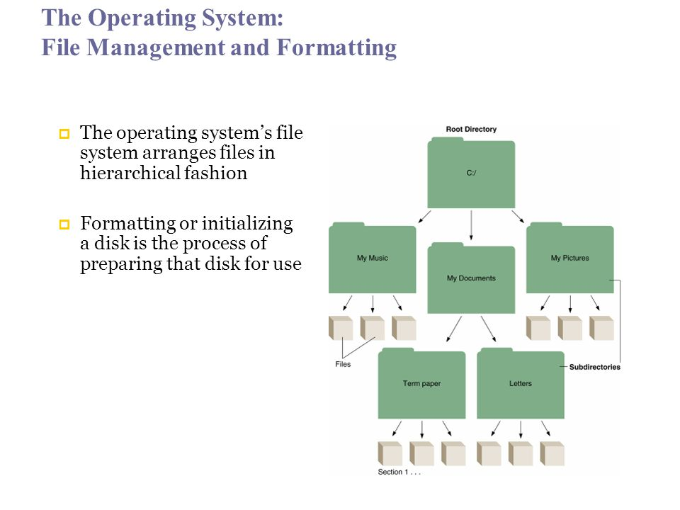 The Operating System: File Management and Formatting  The operating system's file system arranges files in hierarchical fashion  Formatting or initializing a disk is the process of preparing that disk for use