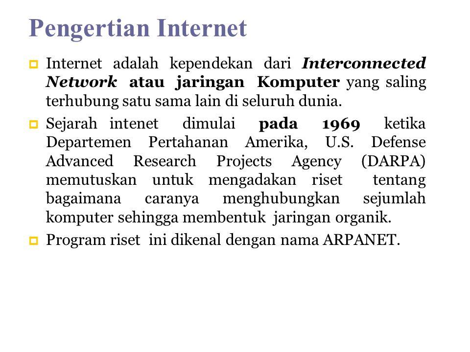 Pengertian Internet  Internet adalah kependekan dari Interconnected Network atau jaringan Komputer yang saling terhubung satu sama lain di seluruh dunia.