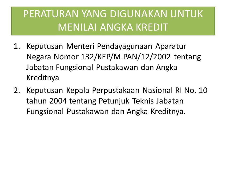 PERATURAN YANG DIGUNAKAN UNTUK MENILAI ANGKA KREDIT 1.Keputusan Menteri Pendayagunaan Aparatur Negara Nomor 132/KEP/M.PAN/12/2002 tentang Jabatan Fung