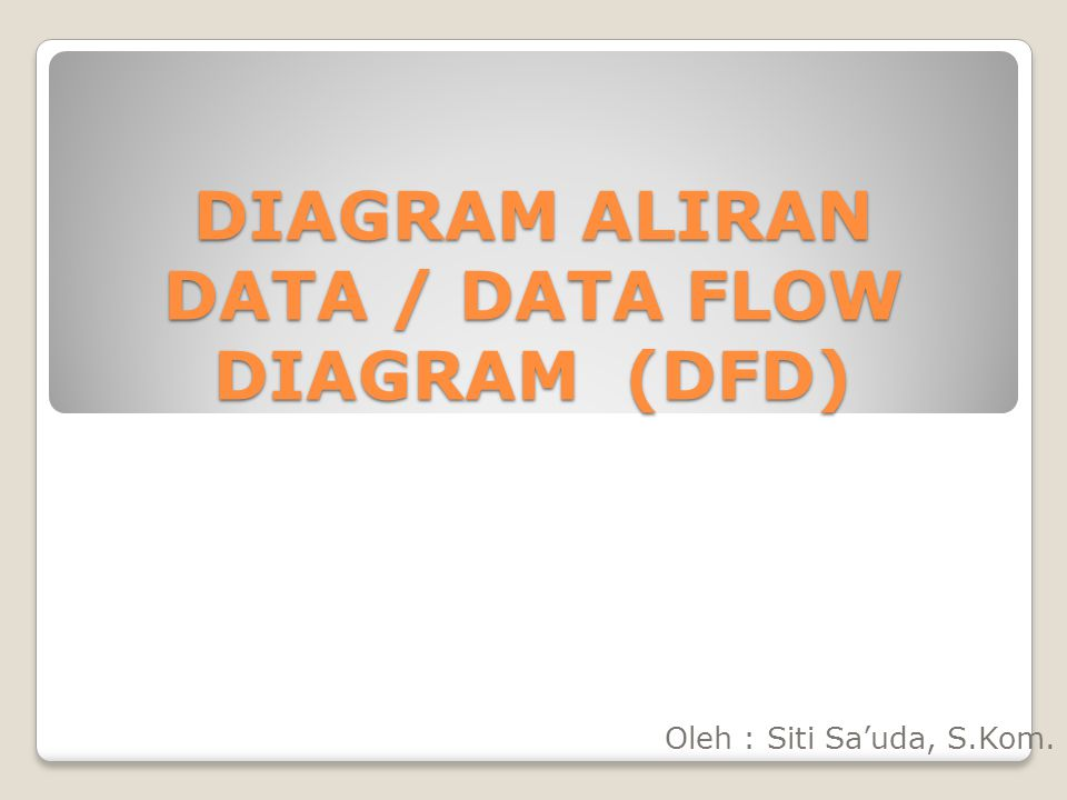 DIAGRAM ALIRAN DATA / DATA FLOW DIAGRAM (DFD) Oleh : Siti Sa'uda, S.Kom.