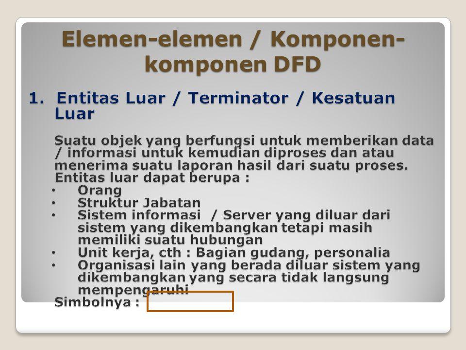 Elemen-elemen / Komponen- komponen DFD