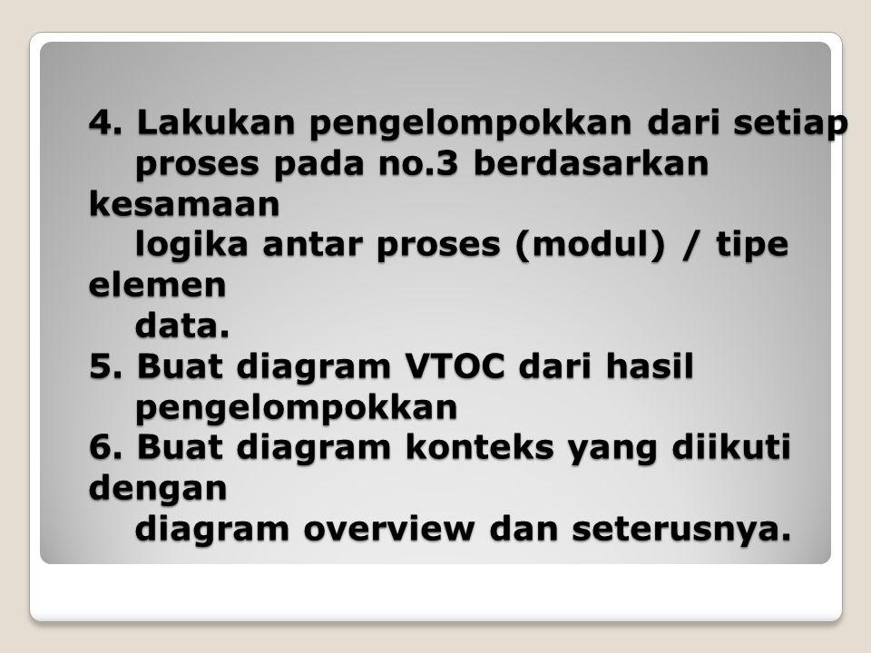 4. Lakukan pengelompokkan dari setiap proses pada no.3 berdasarkan kesamaan logika antar proses (modul) / tipe elemen data. 5. Buat diagram VTOC dari