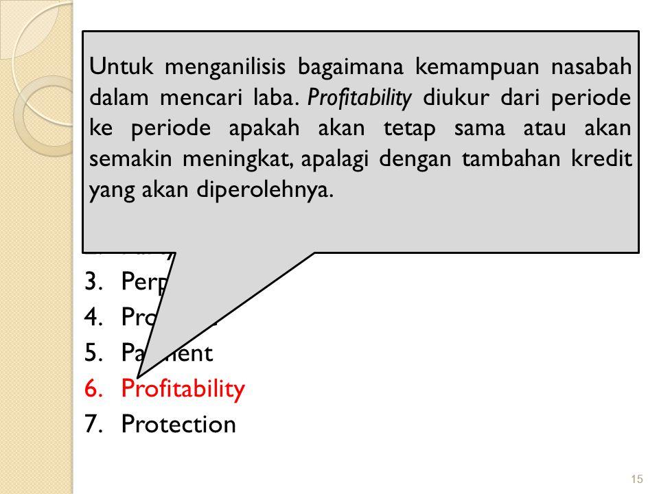 15 PRINSIP PEMBERIAN KREDIT Adapun analisis 7 P adalah: 1.Personality 2.Party 3.Perpose 4.Prospect 5.Payment 6.Profitability 7.Protection Untuk mengan