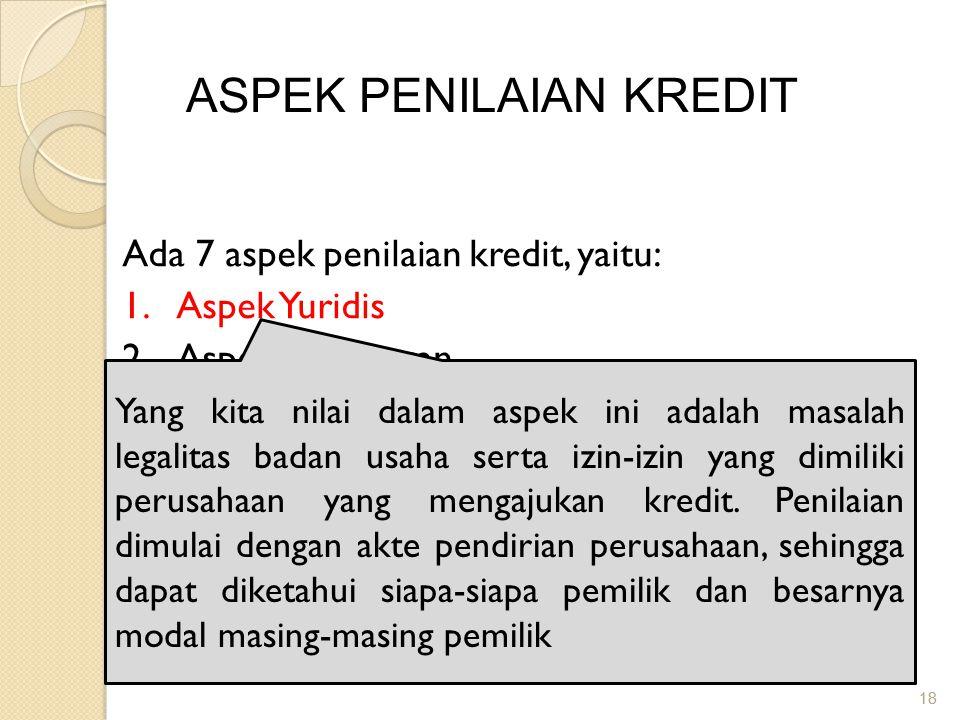 18 ASPEK PENILAIAN KREDIT Ada 7 aspek penilaian kredit, yaitu: 1.Aspek Yuridis 2.Aspek Pemasaran 3.Aspek Keuangan 4.Aspek Teknis/Operasional 5.Aspek M