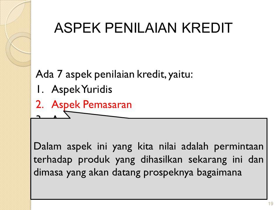 19 ASPEK PENILAIAN KREDIT Ada 7 aspek penilaian kredit, yaitu: 1.Aspek Yuridis 2.Aspek Pemasaran 3.Aspek Keuangan 4.Aspek Teknis/Operasional 5.Aspek M
