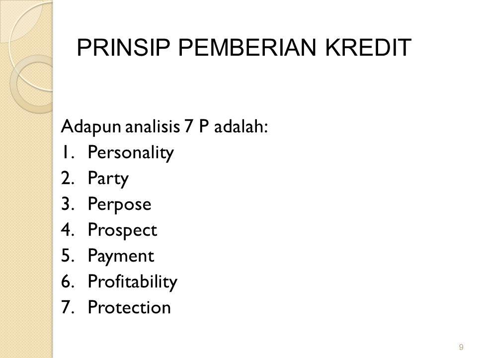 9 9 PRINSIP PEMBERIAN KREDIT Adapun analisis 7 P adalah: 1.Personality 2.Party 3.Perpose 4.Prospect 5.Payment 6.Profitability 7.Protection