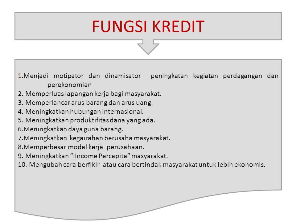 FUNGSI KREDIT 1.Menjadi motipator dan dinamisator peningkatan kegiatan perdagangan dan perekonomian 2. Memperluas lapangan kerja bagi masyarakat. 3. M