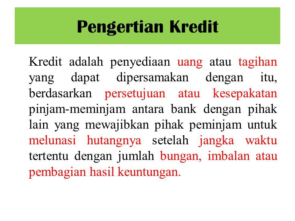 Kredit adalah penyediaan uang atau tagihan yang dapat dipersamakan dengan itu, berdasarkan persetujuan atau kesepakatan pinjam-meminjam antara bank de