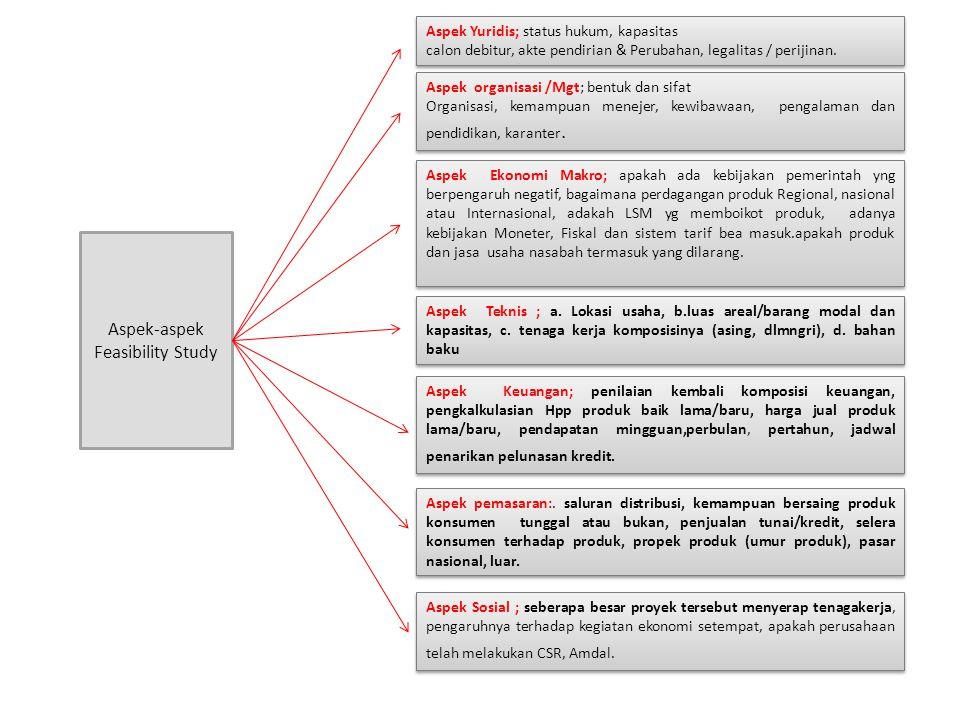 Aspek-aspek Feasibility Study Aspek Yuridis; status hukum, kapasitas calon debitur, akte pendirian & Perubahan, legalitas / perijinan. Aspek Yuridis;