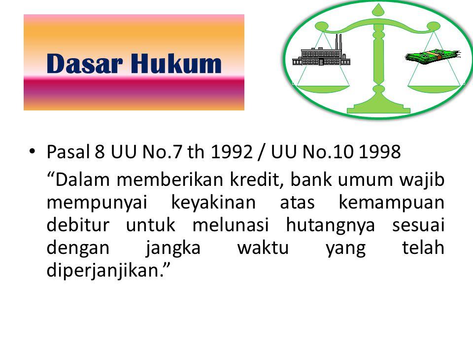"""Dasar Hukum Pasal 8 UU No.7 th 1992 / UU No.10 1998 """"Dalam memberikan kredit, bank umum wajib mempunyai keyakinan atas kemampuan debitur untuk melunas"""