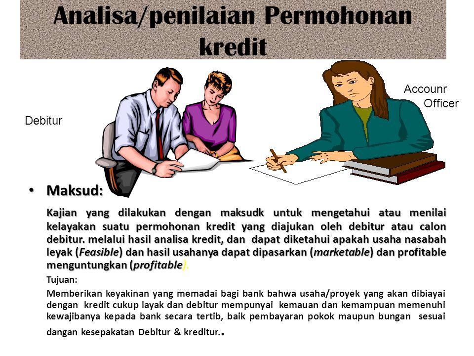 Analisa/penilaian Permohonan kredit Maksud: Maksud: Kajian yang dilakukan dengan maksudk untuk mengetahui atau menilai kelayakan suatu permohonan kred