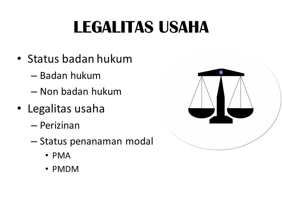 LEGALITAS USAHA Status badan hukum – Badan hukum – Non badan hukum Legalitas usaha – Perizinan – Status penanaman modal PMA PMDM