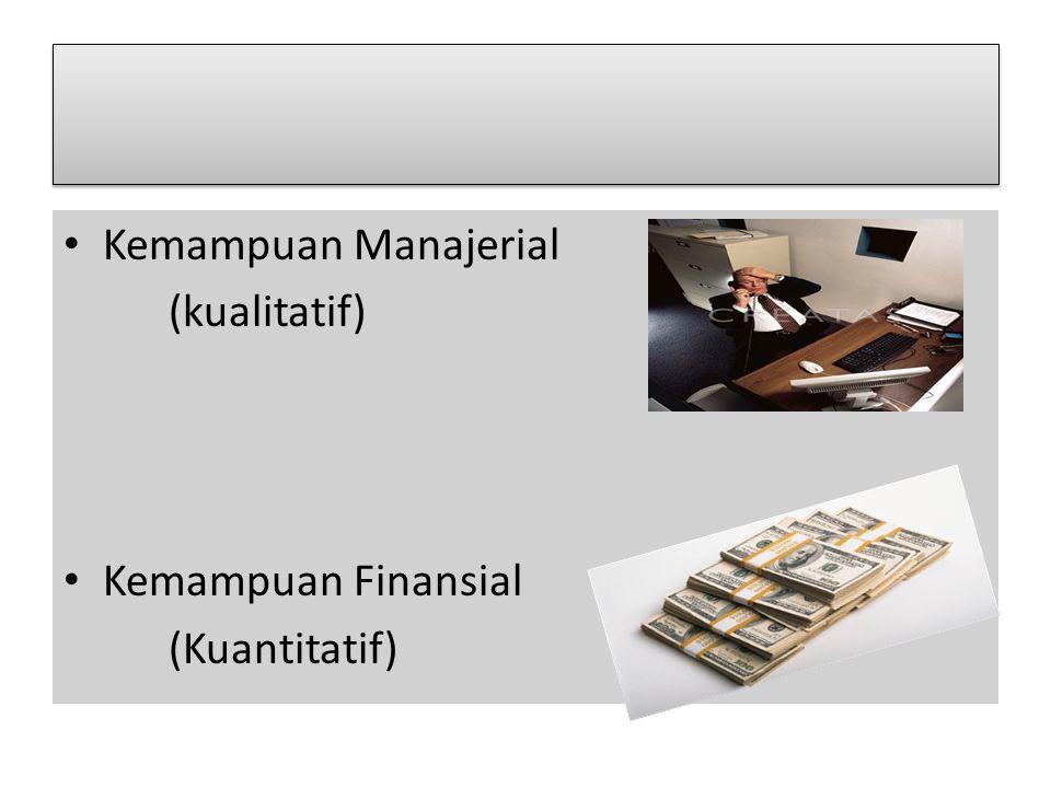 Kemampuan Manajerial (kualitatif) Kemampuan Finansial (Kuantitatif)