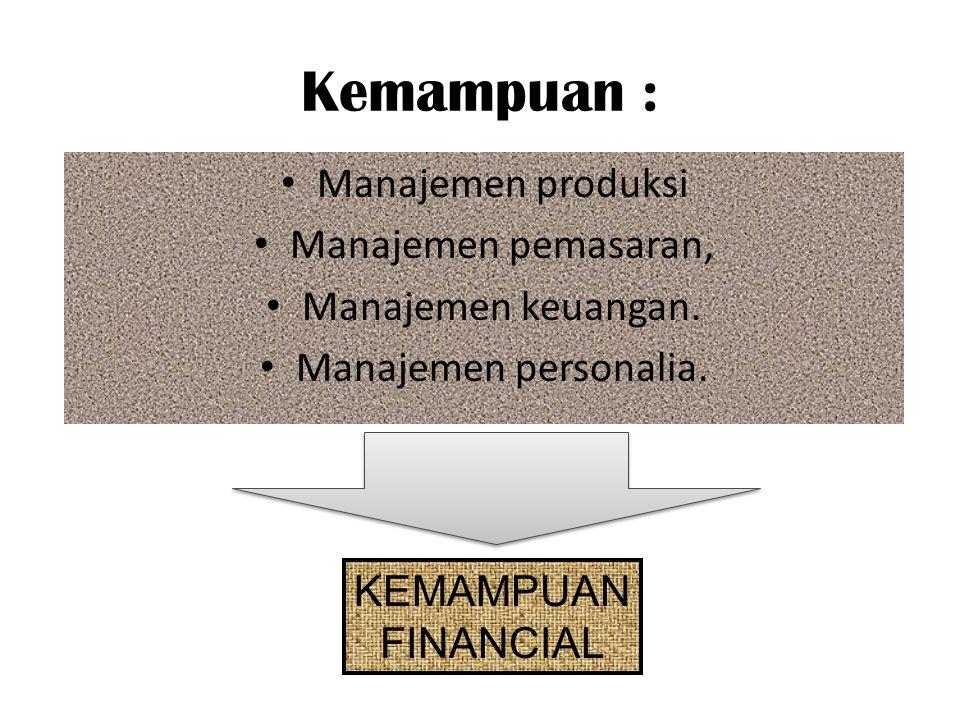Kemampuan : Manajemen produksi Manajemen pemasaran, Manajemen keuangan. Manajemen personalia. KEMAMPUAN FINANCIAL