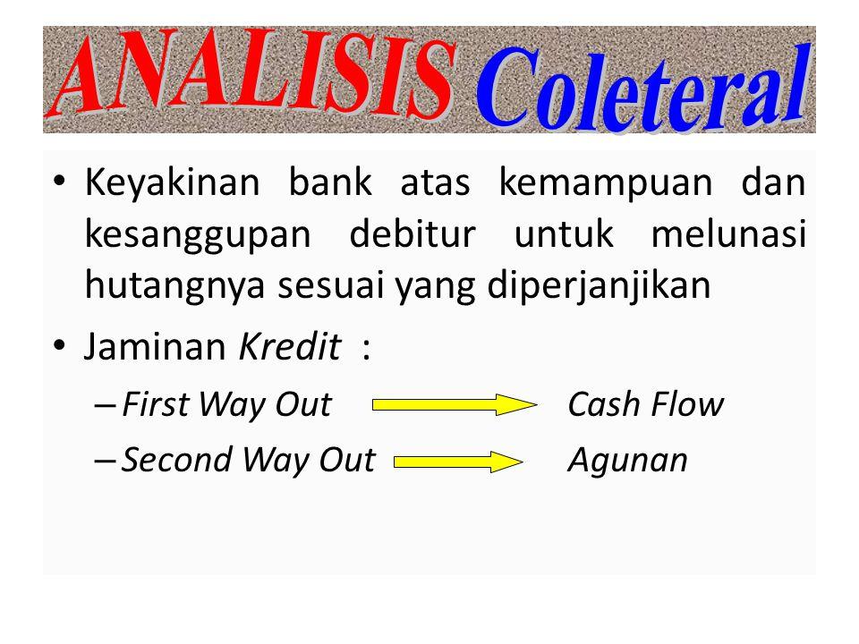 Keyakinan bank atas kemampuan dan kesanggupan debitur untuk melunasi hutangnya sesuai yang diperjanjikan Jaminan Kredit : – First Way Out Cash Flow –