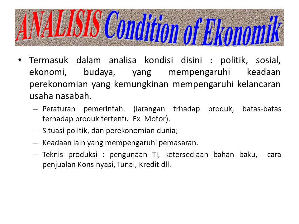 Termasuk dalam analisa kondisi disini : politik, sosial, ekonomi, budaya, yang mempengaruhi keadaan perekonomian yang kemungkinan mempengaruhi kelanca