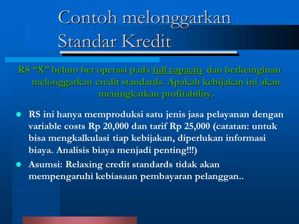 Contoh melonggarkan Standar Kredit RS X belum ber operasi pada full capacity dan berkeinginan melonggarkan credit standards.