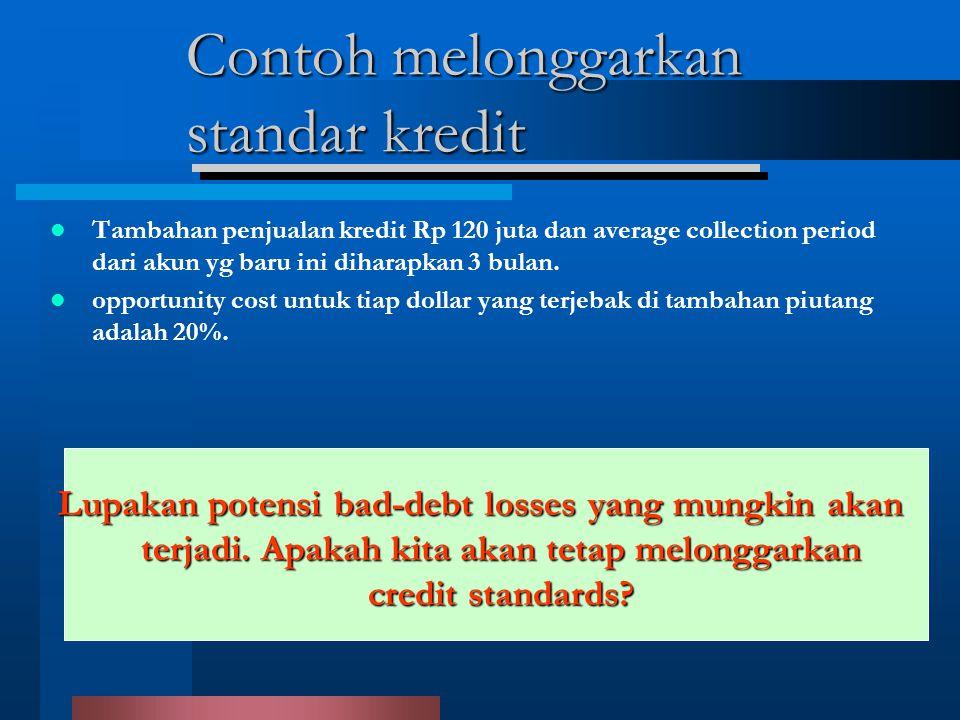 Contoh melonggarkan standar kredit Tambahan penjualan kredit Rp 120 juta dan average collection period dari akun yg baru ini diharapkan 3 bulan.