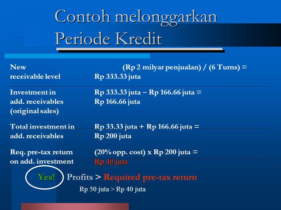 Contoh melonggarkan Periode Kredit New (Rp 2 milyar penjualan) / (6 Turns) = receivable levelRp 333.33 juta Investment in Rp 333.33 juta – Rp 166.66 juta = add.