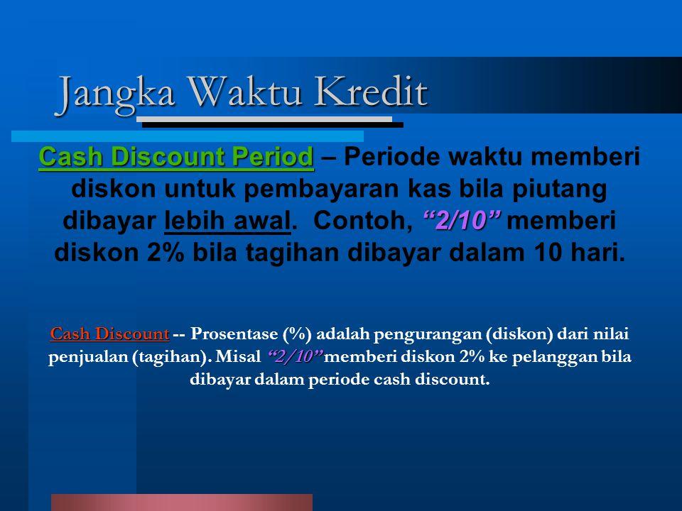 """Jangka Waktu Kredit Cash Discount """"2/10"""" Cash Discount -- Prosentase (%) adalah pengurangan (diskon) dari nilai penjualan (tagihan). Misal """"2/10"""" memb"""