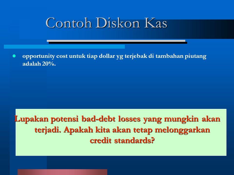 Contoh Diskon Kas opportunity cost untuk tiap dollar yg terjebak di tambahan piutang adalah 20%.