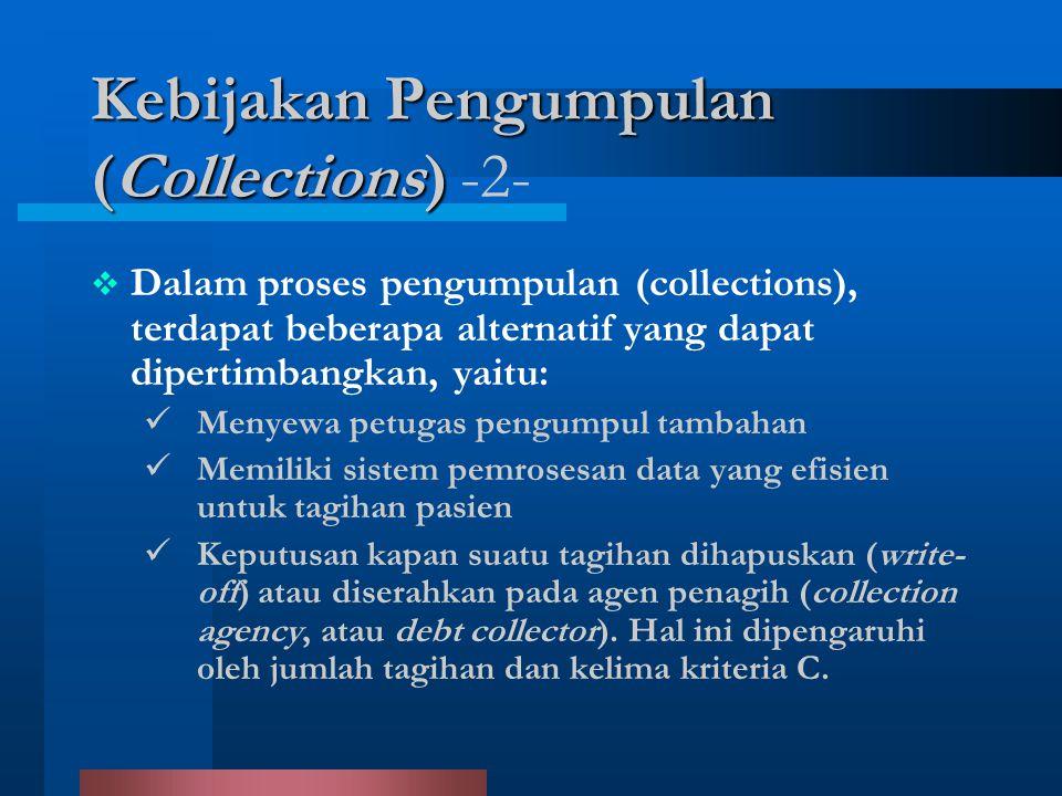  Dalam proses pengumpulan (collections), terdapat beberapa alternatif yang dapat dipertimbangkan, yaitu: Menyewa petugas pengumpul tambahan Memiliki