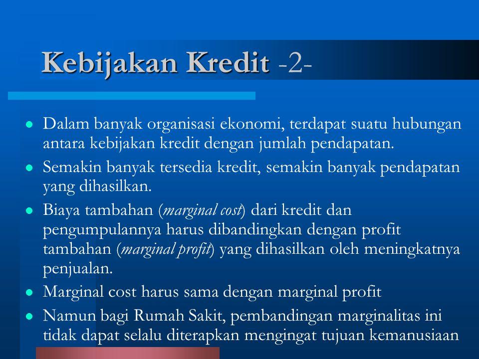 Dalam banyak organisasi ekonomi, terdapat suatu hubungan antara kebijakan kredit dengan jumlah pendapatan. Semakin banyak tersedia kredit, semakin ban