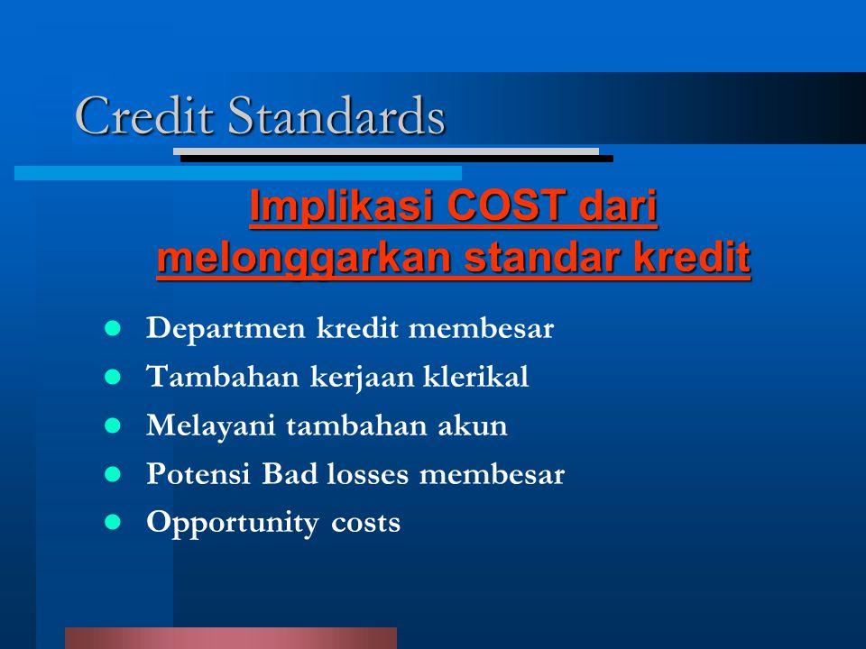 Credit Standards Departmen kredit membesar Tambahan kerjaan klerikal Melayani tambahan akun Potensi Bad losses membesar Opportunity costs Implikasi COST dari melonggarkan standar kredit
