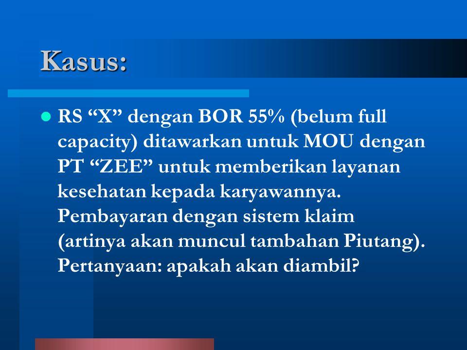 """Kasus: RS """"X"""" dengan BOR 55% (belum full capacity) ditawarkan untuk MOU dengan PT """"ZEE"""" untuk memberikan layanan kesehatan kepada karyawannya. Pembaya"""