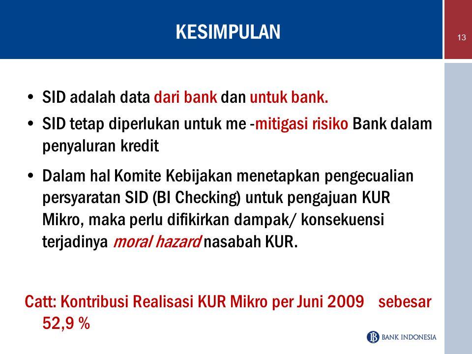 KESIMPULAN SID adalah data dari bank dan untuk bank. SID tetap diperlukan untuk me -mitigasi risiko Bank dalam penyaluran kredit Dalam hal Komite Kebi