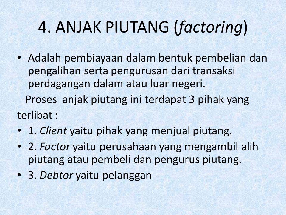 4. ANJAK PIUTANG (factoring) Adalah pembiayaan dalam bentuk pembelian dan pengalihan serta pengurusan dari transaksi perdagangan dalam atau luar neger