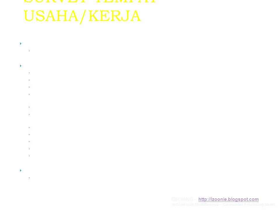 SURVEY TEMPAT USAHA/KERJA  PERSYARATAN ◦ Tidak perlu ketemu konsumen tetapi harus ada info pihak III  DATA PEKERJAAN / USAHA ◦ Jenis Pekerjaan (memb
