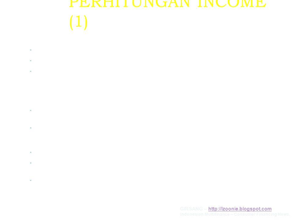 PERHITUNGAN INCOME (1) KOSUMEN KARYAWAN ◦ Gaji Pokok, ◦ Tunjangan Tetap (transport, makan, isteri & anak, kemahalan/konjuntur, lainnya), ◦ Tunjangann