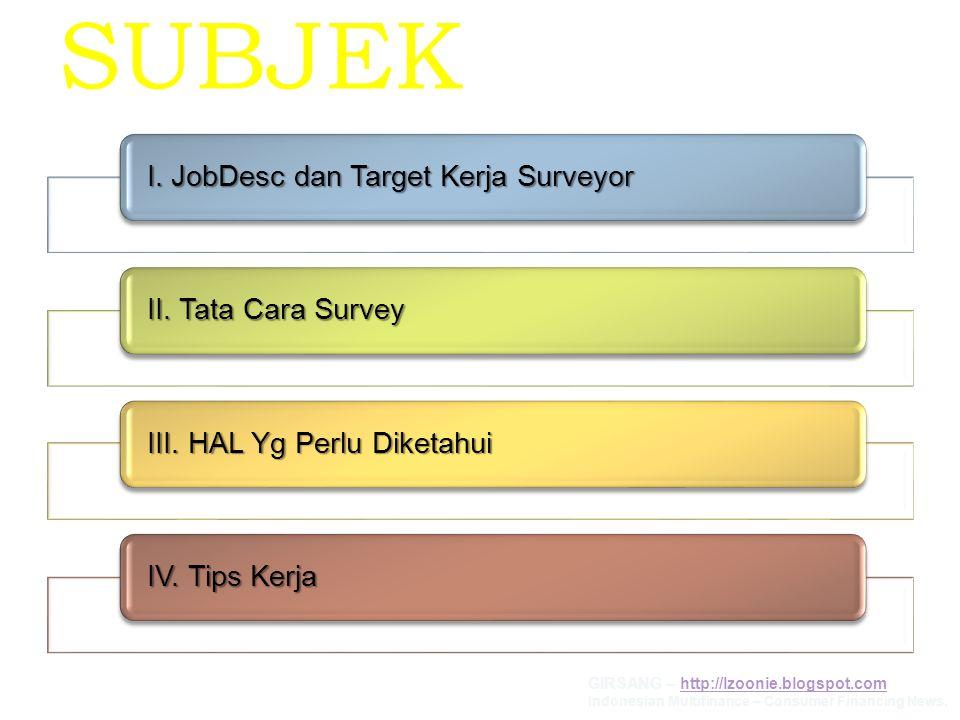 SUBJEK I. JobDesc dan Target Kerja Surveyor II. Tata Cara Survey III. HAL Yg Perlu Diketahui IV. Tips Kerja GIRSANG – http://lzoonie.blogspot.comhttp: