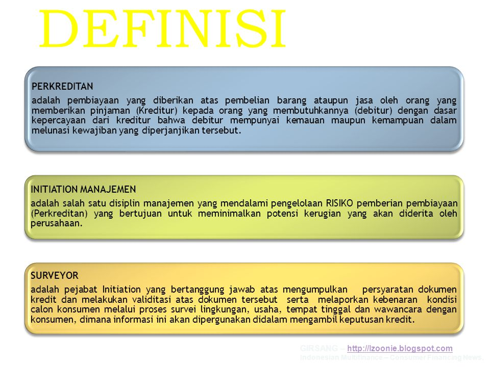 BAGIAN I JOBDESC & TARGET KERJA SURVEYOR GIRSANG – http://lzoonie.blogspot.comhttp://lzoonie.blogspot.com Indonesian Multifinance – Consumer Financing News.
