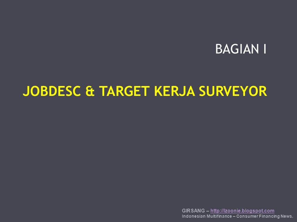 BAGIAN I JOBDESC & TARGET KERJA SURVEYOR GIRSANG – http://lzoonie.blogspot.comhttp://lzoonie.blogspot.com Indonesian Multifinance – Consumer Financing