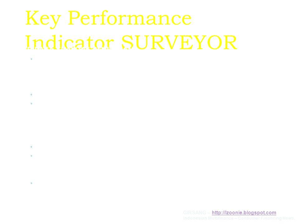Key Performance Indicator SURVEYOR MENJAGA KUALITAS PENJUALAN ◦ Memaintenance/merawat Konsumen yang sudah berjalan, agar dapat melaksanakan kewajiban
